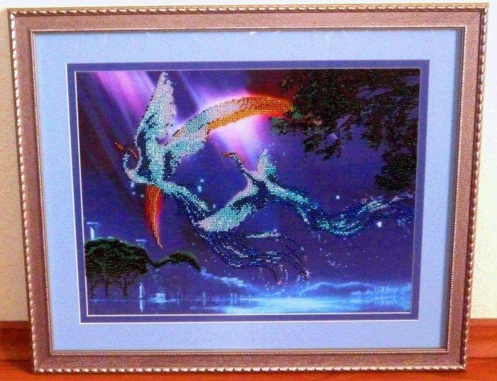 """Картина  """"Райские птицы """", вышитая бисером, ручная работа: размер схемы 30*40, чешский бисер, 10 цветов..."""