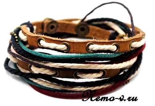 Стильные кожаные браслеты на руку